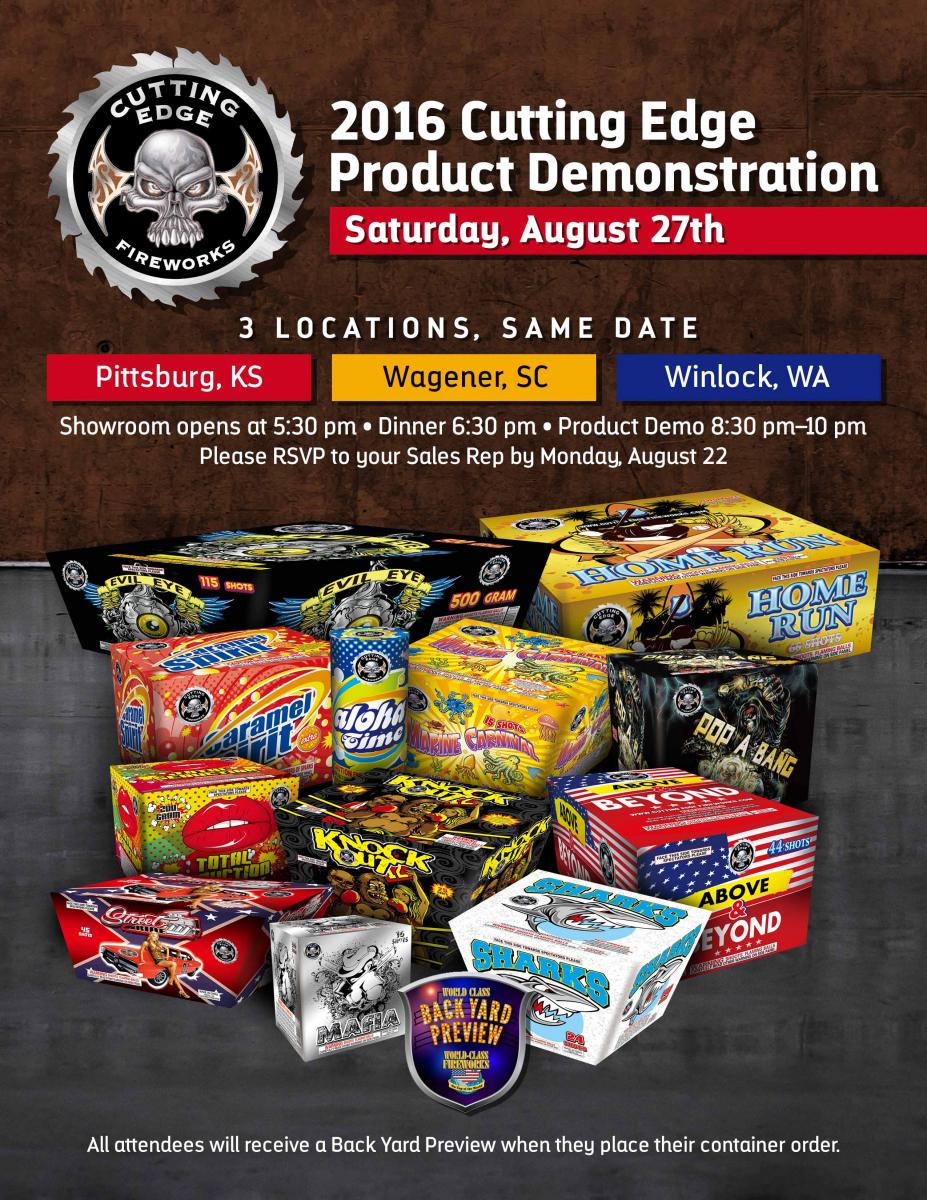 Cutting Edge Wholesale Fireworks Demo Night 2016